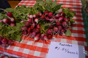 Radishes are sold at the indoor farmers market in Mount Vernon, Iowa. (photo/Cindy Hadish)