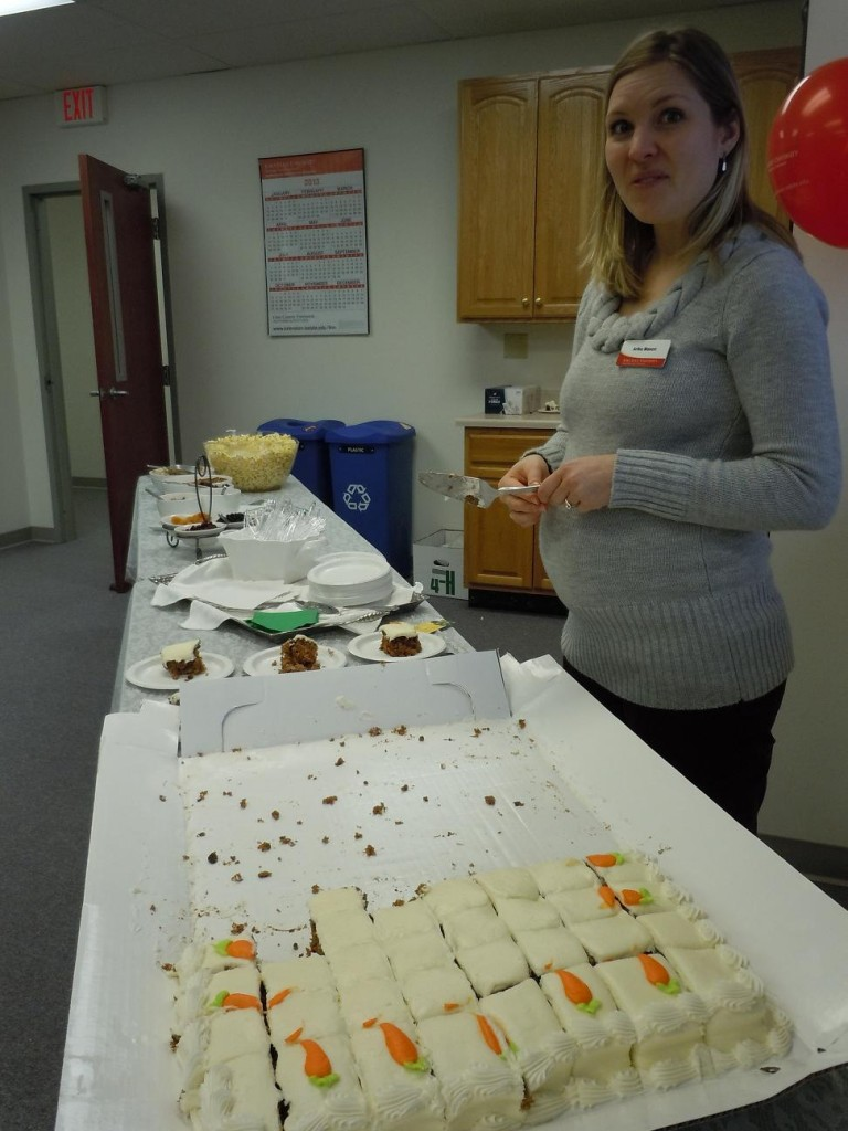 STARS program director, Arika Mason, had one of the sweetest jobs at the open house, serving up carrot cake for the  visitors. (photo/Cindy Hadish)