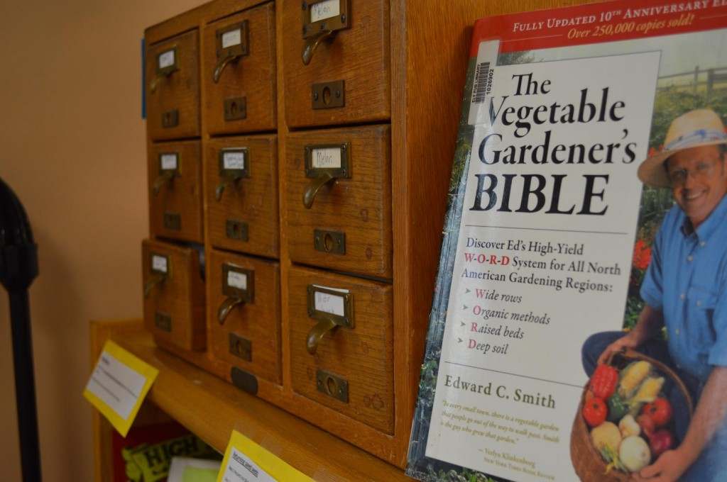 Seed saving books and other resources are available to gardeners who check out seeds from the Ely Seed Lending Library. (photo/Cindy Hadish)