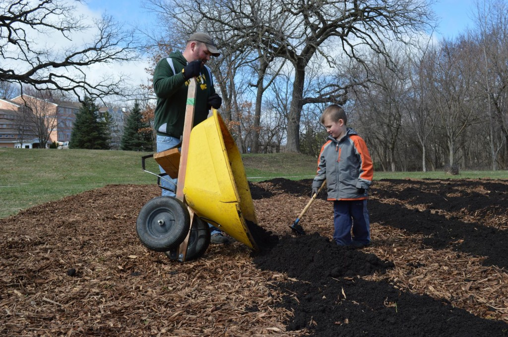 Brody Welsh, 6, helps his dad, John Welsh, during the school garden build Saturday, April 13, 2013, at Harrison Elementary in Cedar Rapids. (photo/Cindy Hadish)