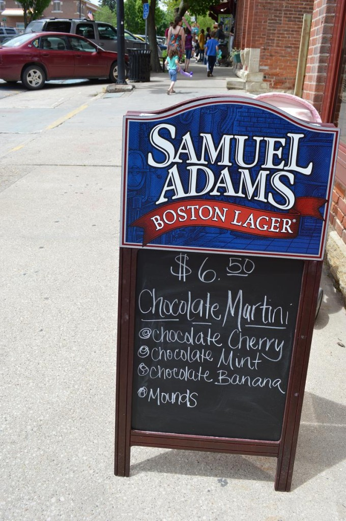 A wide variety of chocolate items were offered during the Mount Vernon Chocolate Stroll, as this sign outside Scorz Bar & Grill attests. (photo/Cindy Hadish)