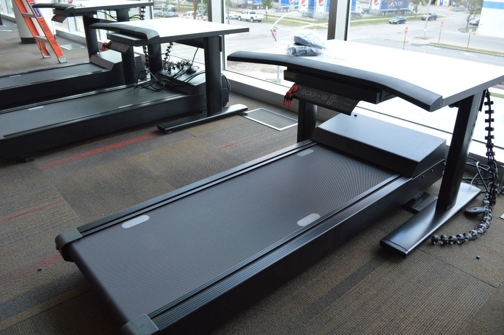 Three computer treadmills with adjustable heights are shown at the Cedar Rapids Public Library on Wednesday, July 24. More than 100 computers will be available at the new library. (photo/Cindy Hadish)