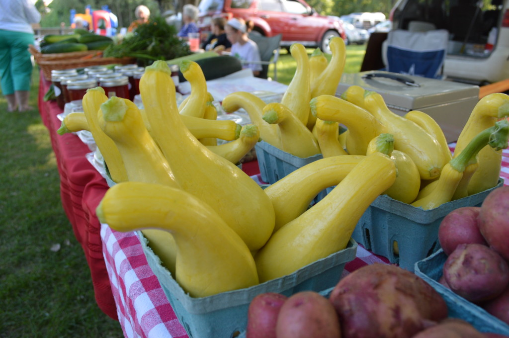Yellow summer squash is among items sold by Tony & Deni's Produce of South Amana at the Oxford Farmers Market on Monday, Aug. 5, 2013. (photo/Cindy Hadish)
