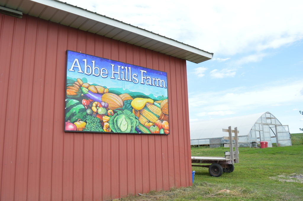 A hoophouse can be seen behind a barn at Abbe Hills Farm. Laura Krouse hosted a farm field day and open house at her farm in rural Mount Vernon. (photo/Cindy Hadish)