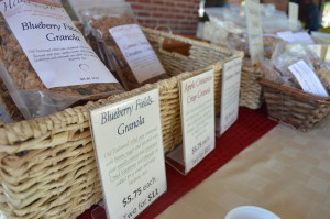 Several varieties of granola were sold by Heart of my Home Granola at the Marion Farmers Market in City Square Park. (photo/Cindy Hadish)
