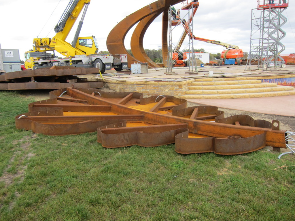 The amphitheater under construction at Lowe Park in Marion, Iowa, will feature a canopy with an oak-leaf design. (photo/Devon Dietz)