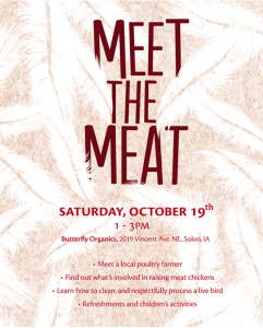 Meet the meat chickens this Saturday in Solon, Iowa