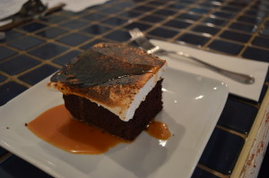 Chocolate malt cake with house-made marshmallow topping and caramel sauce at the Lincoln Cafe in December 2013. (photo/Cindy Hadish)