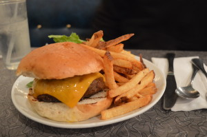 The Lincoln cheddar burger with the cafe's infamous French fries, on Saturday, Dec. 21, 2013. (photo/Cindy Hadish)