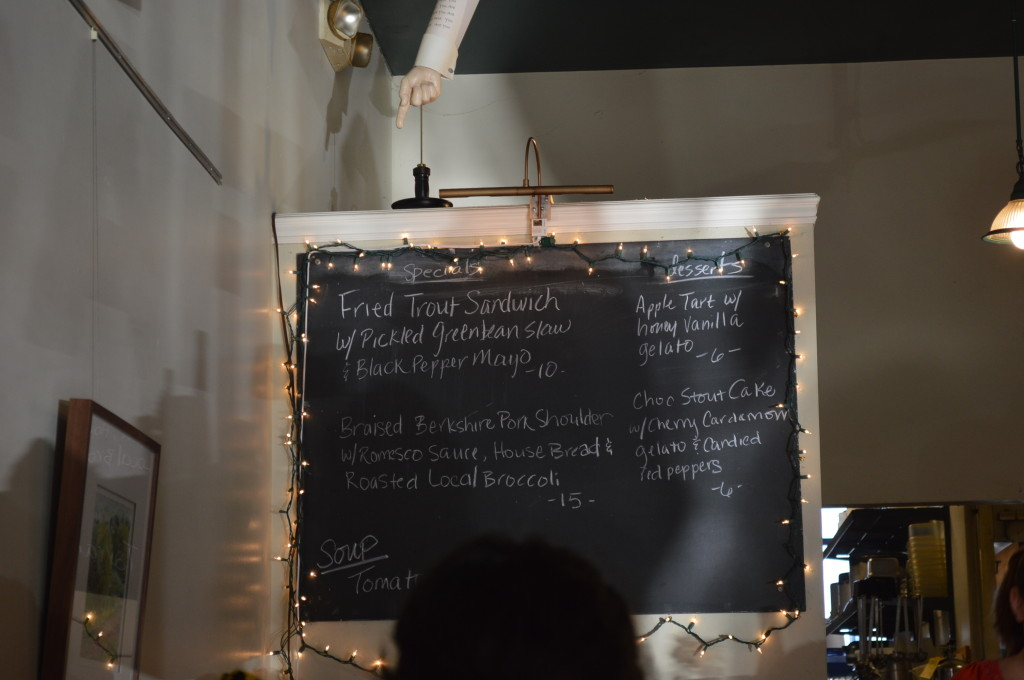 The chalkboard menu indicates the day's specials at the Lincoln Cafe on Saturday, Nov. 23, 2013. (photo/Cindy Hadish)