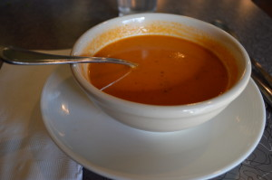 Tomato tarragon soup was too tempting to eat before shooting a photo at the Lincoln Cafe in Mount Vernon, Iowa. (photo/Cindy Hadish)