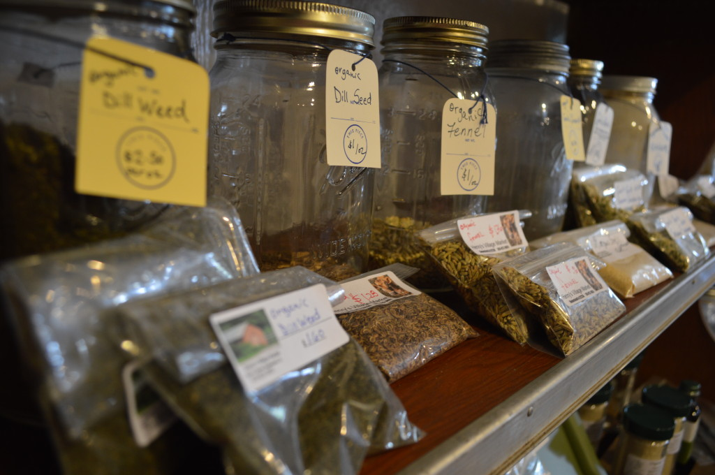 Dill seed and other organically grown products are sold at Henry's Village Market in Homestead, Iowa. (photo/Cindy Hadish)