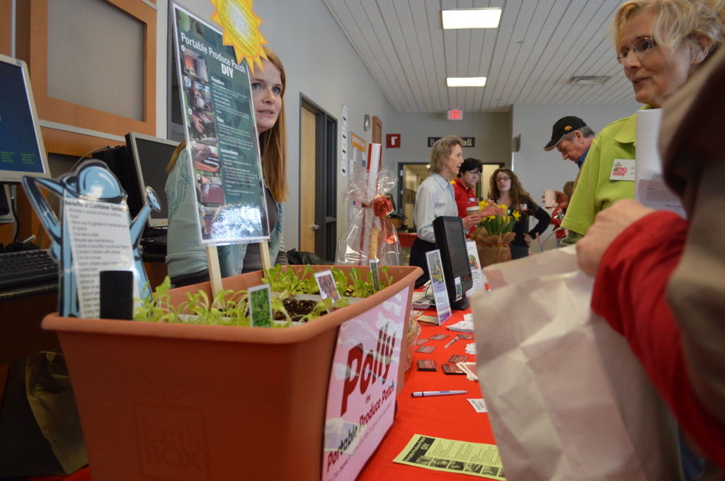 Linn County ISU Extension showcased a portable container to grow lettuce and other plants during the Winter Gardening Fair. (photo/Cindy Hadish)
