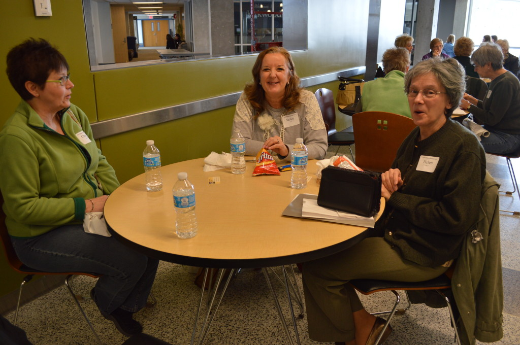Participants at the 2014 Winter Gardening Fair shared some of what they learned over lunch at Kirkwood Community College in Cedar Rapids. (photo/Cindy Hadish)