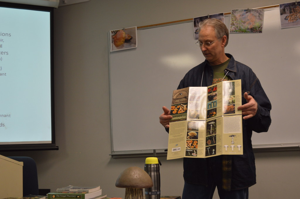 Marty Augustine of the Prairie States Mushroom Club shared insights into morels and other mushrooms. (photo/Cindy Hadish)