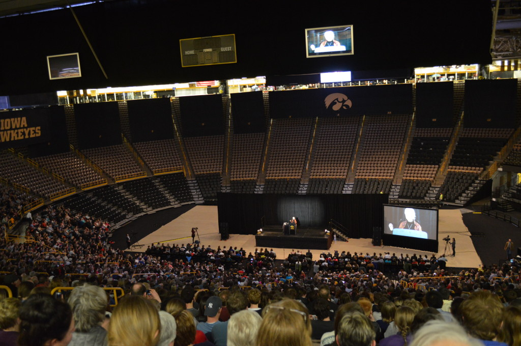 More than 5,000 people filled one-half of Carver-Hawkeye Arena to hear Jane Goodall speak at the University of Iowa on March 10, 2014. (photo/Cindy Hadish)