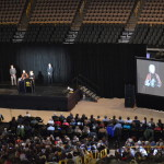 Dr. Jane Goodall is introduced Monday, March 10, 2014, on the floor of the University of Iowa's Carver-Hawkeye Arena in Iowa City. (photo/Cindy Hadish)
