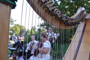 Members of Silbertaler Musikanten play folk music last summer during the Amana Colonies Farmers Market in Homestead. The market offers prepared food and entertainment, turning market nights into community gatherings. (photo/Cindy Hadish)