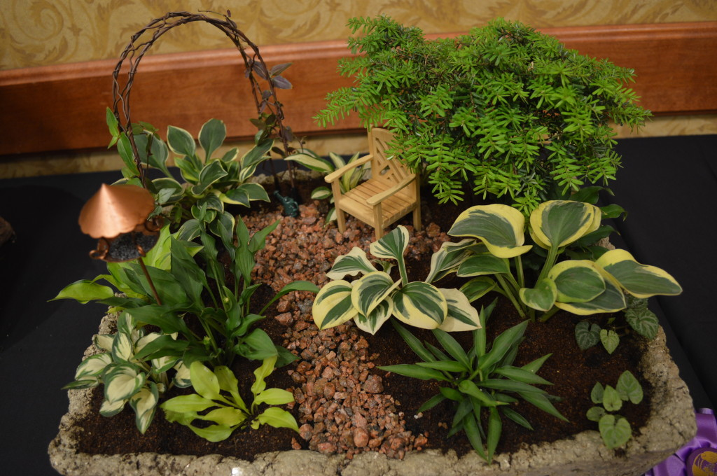 With names like Dragon Tails and Mighty Mouse, this display of miniature hosta was an award winner during the American Hosta Society national convention in Cedar Rapids, Iowa. (photo/Cindy Hadish)