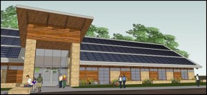 This architect's rendering shows the concept for the Indian Creek Nature Center's new building in Cedar Rapids, Iowa. (Solum Lang Architects)