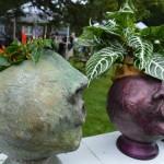 """Garden divas"" planters were among the garden art sold during the Brucemore Garden & Art Show on Saturday, Aug. 23, 2014. (photo/Cindy Hadish)"