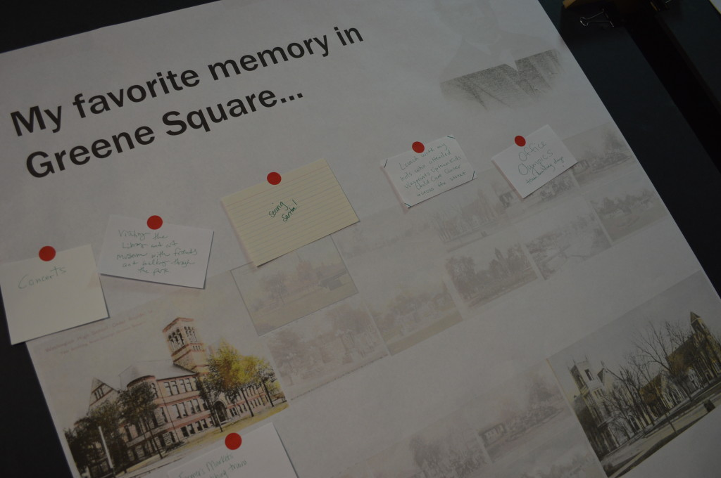 """Cedar Rapids residents shared recollections of """"seeing Santa"""" and other memories of Greene Square Park during a public input session in downtown Cedar Rapids. (photo/Cindy Hadish)"""