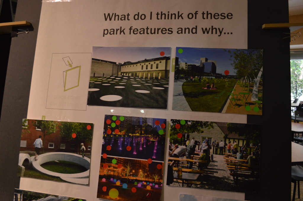 """""""Water spurts"""" with LED lights, center, are among the popular proposed design elements for Greene Square Park. (photo/Cindy Hadish)"""