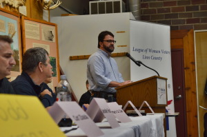 "Gazette columnist Todd Dorman speaks at the ""Clean Streams and Waterways"" discussion on Saturday, Sept. 13, 2014. (photo/Cindy Hadish)"