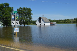 Floodwaters inundate rural Chelsea, Iowa, on July 4, 2014. The Indian Creek Nature Center is hosting a forum and panel discussion on watersheds on Sept. 13. (photo/Cindy Hadish)