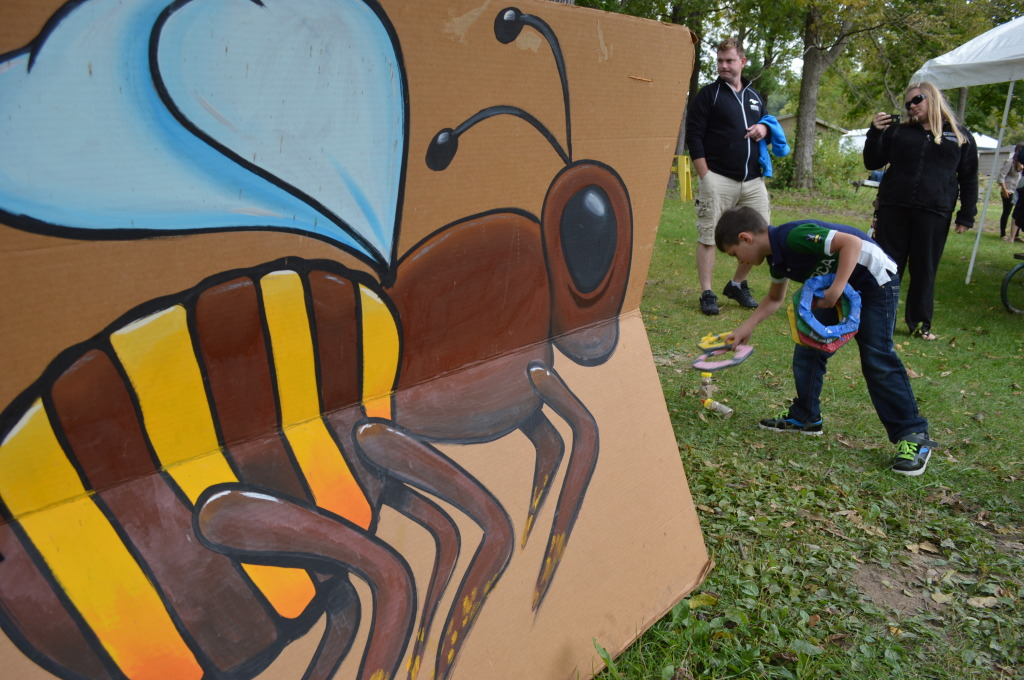 Bee-themed games were among the activities at Honey Fest in Cedar Rapids. (photo/Cindy Hadish)
