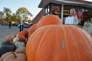 Pumpkins are sold at the Hy-Vee Drugstore on Mount Vernon Road SE on Oct. 25, 2014. The store is closing Oct. 26. (photo/Cindy Hadish)