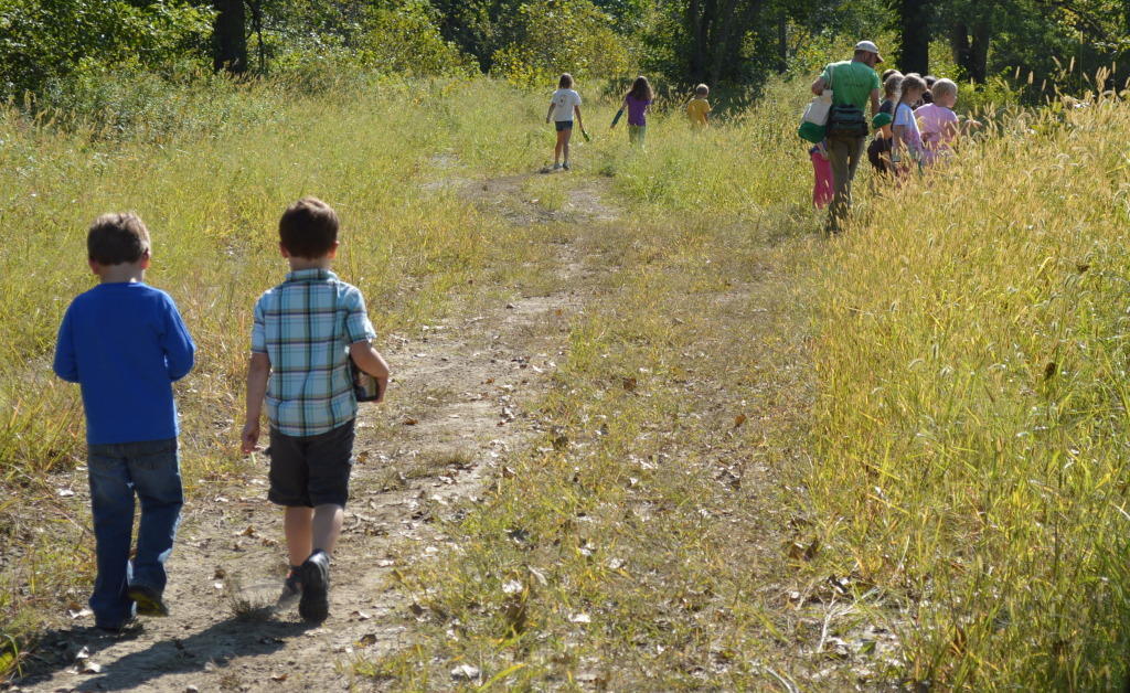 Taproot Nature Experience students make their way down a path in September 2014 at the Terry Trueblood Recreation Area in Iowa City. (photo/Cindy Hadish)