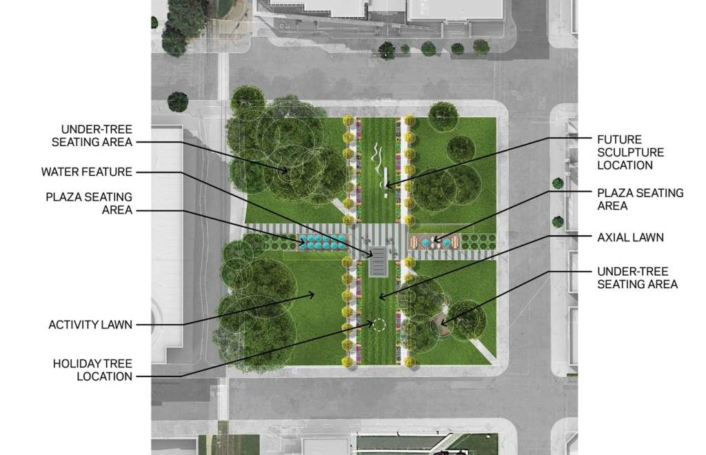 New seating will be added under existing shade trees and portions of the park will remain as open green space in downtown Cedar Rapids. (OPN Architects)