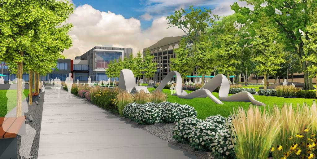 The new Greene Square design in downtown Cedar Rapids adds walkways, a world-class sculpture and two lines of trees. (OPN Architects)