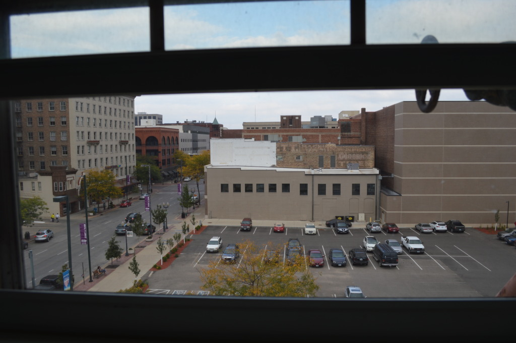 Another view from an upper-floor window of Smulekoff's shows this lovely downtown parking lot. (photo/Cindy Hadish)