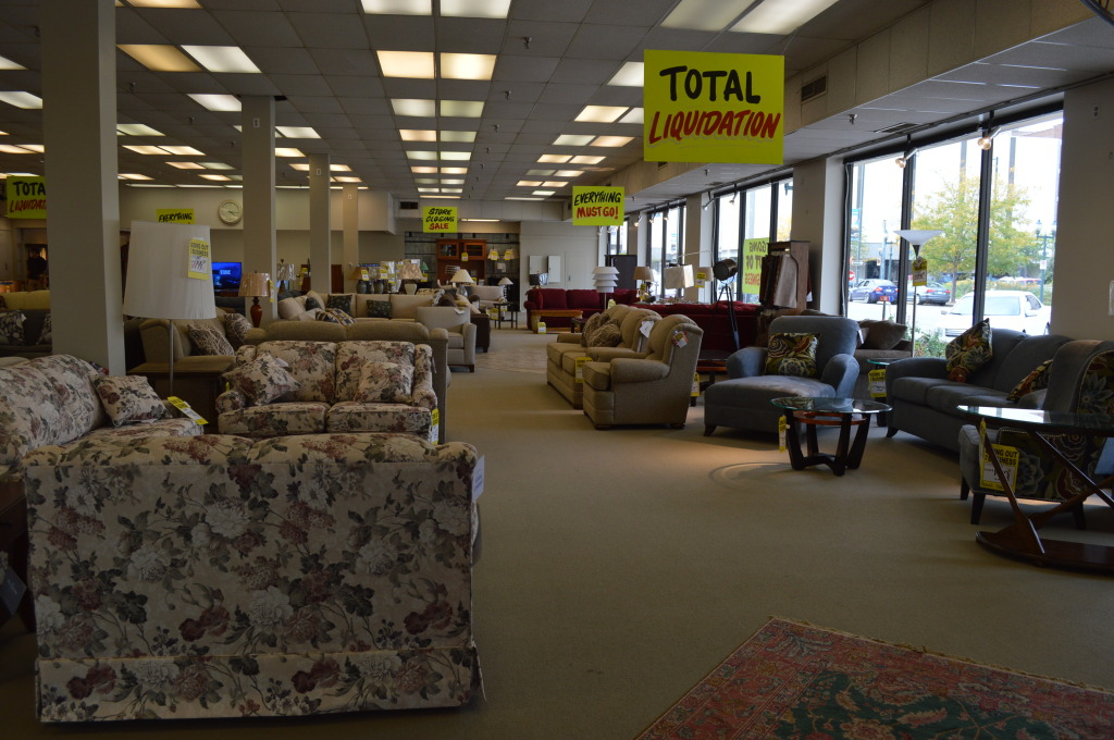 Sofas and other furniture have been marked down for the final sale. (photo/Cindy Hadish)