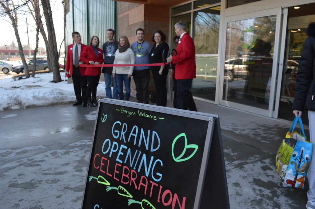 A ribbon-cutting was part of the celebration at New Pioneer Food Co-op's grand opening on Saturday, March 7, in Cedar Rapids. (photo/Cindy Hadish)