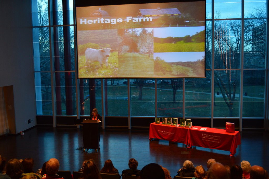 Diane Ott Whealy, co-founder of Seed Savers Exchange, discusses the organization's farm in Decorah during a presentation Thursday, March 26, 2015, at the Cedar Rapids Public Library. (photo/Cindy Hadish)