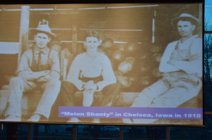 "A photo of the Chelsea ""melon shanty"" was shown during the presentation by Diane Ott Whealy, co-founder of Seed Savers Exchange."