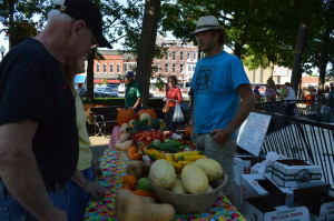 Squash, cucumbers and other vegetables were among the fresh produce sold by Pearl's Produce at the mid-September market in Washington, Iowa. (photo/Cindy Hadish)