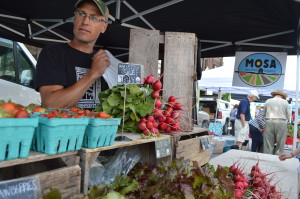 Organic radishes and other vegetables are sold by Grinnell Heritage Farm at the first Downtown Farmers Market of the season on Saturday, June 6, 2015, in Cedar Rapids, Iowa. (photo/Cindy Hadish)