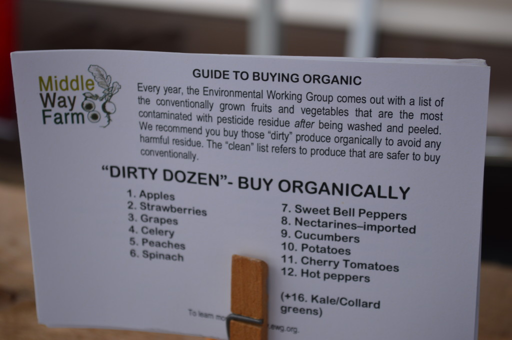 Middle Way Farm of Grinnell offered a guide to buying organic at its booth at the Downtown Farmers Market in Cedar Rapids. (photo/Cindy Hadish)