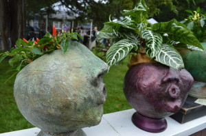 "These ""garden diva"" planters were among the art for sale during the 2014 Brucemore Garden & Art Show. (photo/Cindy Hadish)"