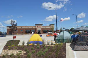 Customers camp out to be among the first 100 in line to win free meals at the new Westdale location of Chick-fil-A in Cedar Rapids. (photo/S. Bell)