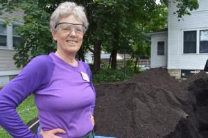 Linn County Master Gardener, Diane Wiesenfeld, provided expertise to the new community garden in Wellington Heights. (photo/Cindy Hadish)