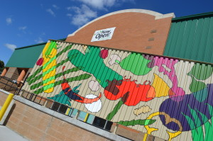 Vegetables and other local foods are depicted on the colorful mural at the Cedar Rapids location of New Pioneer Food Co-op. (photo/Cindy Hadish)