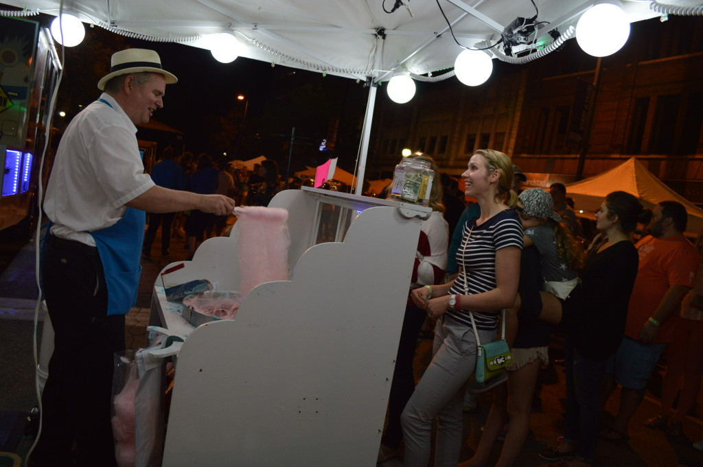 Food vendors and lights added a party atmosphere to the Market After Dark in downtown Cedar Rapids. (photo/Cindy Hadish)