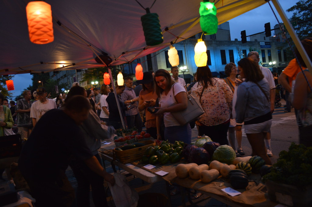 Gordy's Goodies was among several vendors offering fresh produce at the first Market After Dark in Cedar Rapids. (photo/Cindy Hadish)