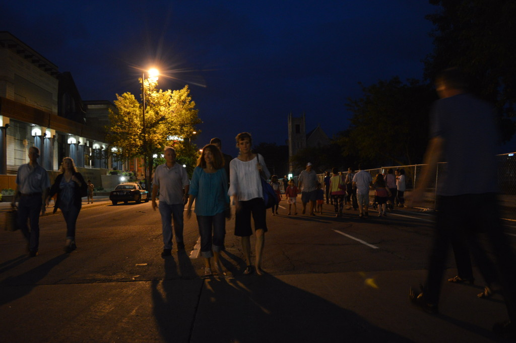 Crowds make their way to downtown Cedar Rapids for the first Market After Dark on Saturday, Aug. 29, 2015. (photo/Cindy Hadish)
