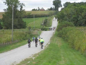 Cyclists make their way down roads in rural Solon during the annual Culinary Ride on Sunday, Sept. 21, 2014. (photo/Larry Hanus)
